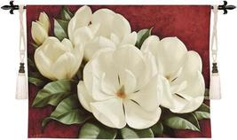 53x33 Magnolia Crimson Floral Tapestry Wall Hanging - $159.95