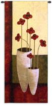 27x62 BOUQUET DE SEPT Red Flowers in Vase Floral Fine Art Tapestry Wall Hanging - $139.95