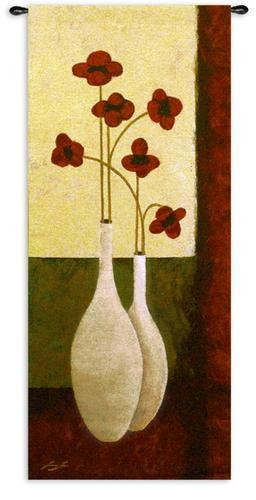 27x62 BOUQUET DE SIX Floral Fine Tapestry Wall Hanging