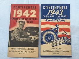 1942 & 1943 Continental Farm and Livestock Record Books Baxter Iowa IA - $21.73