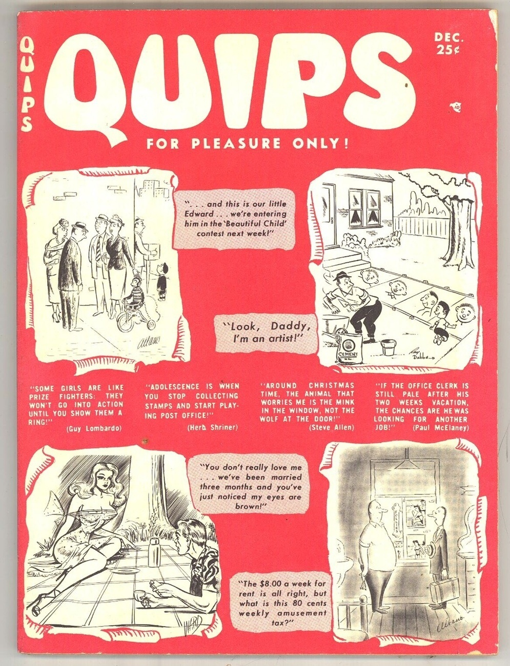 Quips vintage humor magazine December 1954 cartoons jokes