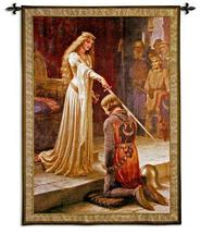31x40 ACCOLADE Knight Lady Woman Royal Castle Medieval Tapestry Wall Han... - $109.95