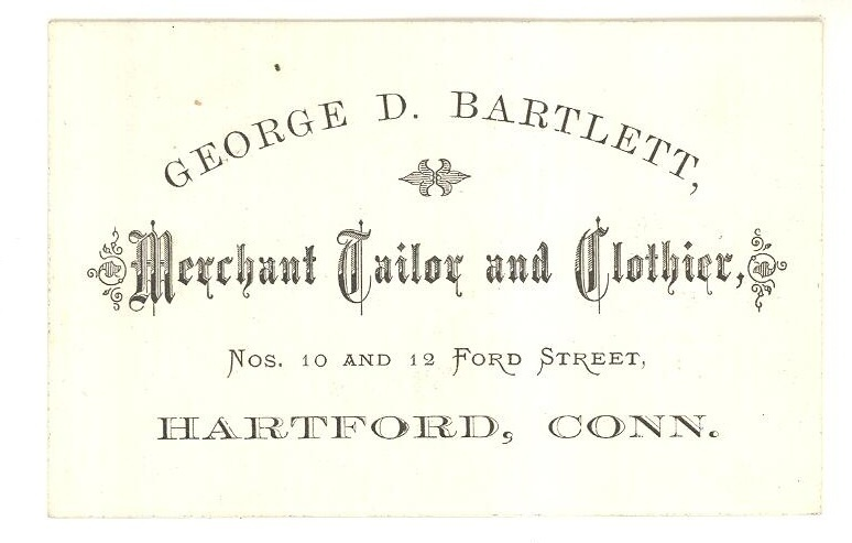 George Bartlett 1890 business card tailor Hartford CT trade ephemera antique