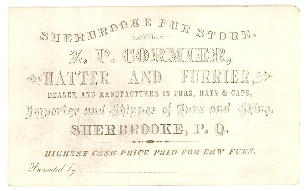 Cormiew Sherbrooke fur hatter store business card 1890 trade