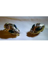 Vintage 1960s Snake Head Clip On Earrings Goldtone with Green Crystal Eyes - $85.00