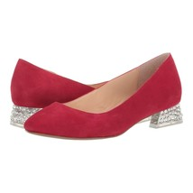 Betsey Johnson Genuine Red Suede Frida Crystal Low Heels Flats 6.5 NIB - $63.86