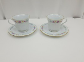 Liling Fine China Cup & Saucer Set of 2 Yung Shen Keepsake White Roses F... - $17.41