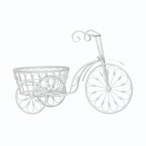 Large Outdoor Planters, White Iron Bicycle Modern Outdoor Planters - $39.08