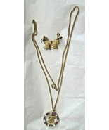 """Red White Blue Rhinestone Gold Tone Liberty Bell 24"""" Necklace 1"""" Earring... - $19.79"""