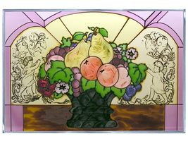 20x14 Stained Art Glass FRUIT Pear Plum Grapes Suncatcher Panel - $70.00
