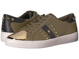 Michael Kors MK Women's Frankie Stripe Leather Sneakers Shoes Olive