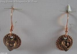 Copper French Wire Earrings with Copper Heart and Coin Charm - $12.95
