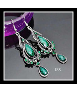 Stunning Green and Silver Dangle Earrings - $13.50