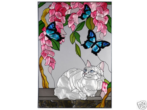 14x20 Stained Art Glass WHITE CAT & Butterfly Window Suncatcher Panel