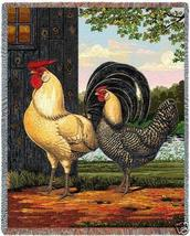 70x54 ROOSTER Hen Chickens Farm Afghan Throw Blanket  - $60.00