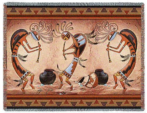 70x54 KOKOPELLI Dance Southwest Afghan Throw Blanket