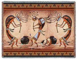 70x54 KOKOPELLI Dance Southwest Afghan Throw Blanket  - $60.00