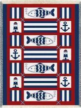48x69 NAUTICAL FISH Sailing Lighthouse Afghan Throw Blanket  - $49.99