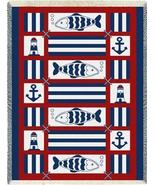 48x69 NAUTICAL FISH Sailing Lighthouse Afghan Throw Blanket  - $49.99
