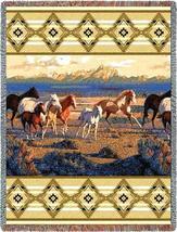 70x53 HORSES Running Southwest Afghan Throw Blanket - $60.00