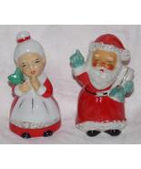 Vtg 1960s MR MRS SANTA CLAUS Christmas Salt Pepper Shakers Spaghetti Trim Japan - $2.00