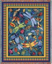 70x54 LADYBUG Dragonfly Bug Insect Afghan Throw Blanket - $60.00