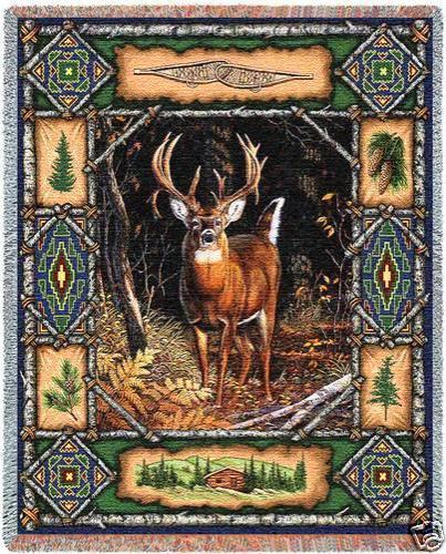 70x54 DEER BUCK Lodge Wildlife Tapestry Afghan Throw Blanket