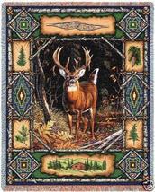 70x54 DEER BUCK Lodge Wildlife Tapestry Afghan Throw Blanket  - $60.00
