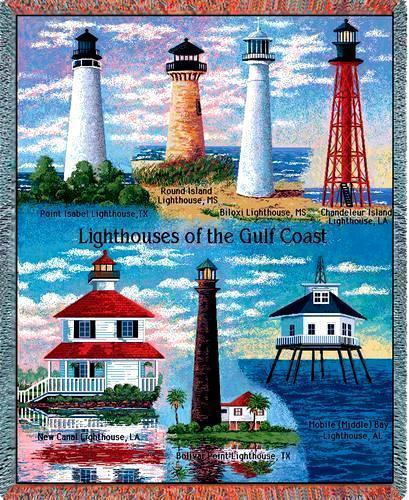 70x53 Gulf Coast LIGHTHOUSE Jacquard Throw Blanket