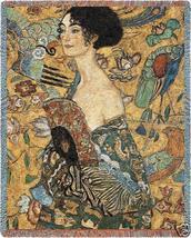 70x54 KLIMT Lady Fan Asian Tapestry Afghan Throw Blanket - $60.00