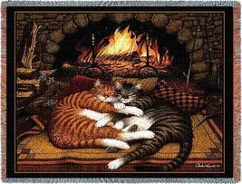 70x54 Sleeping Cats Kitty by Fireplace Tapestry Afghan Throw Blanket  - $60.00