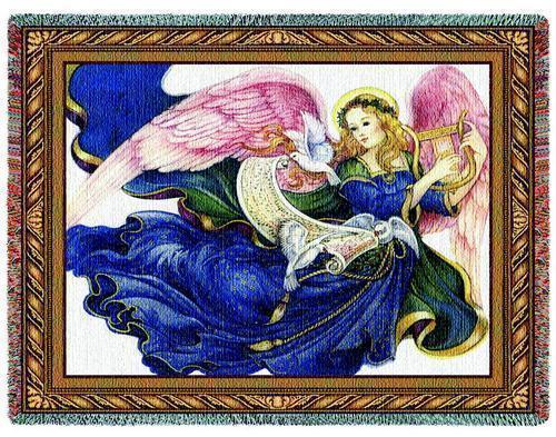 70x54 ANGEL Religious Tapestry Afghan Throw Blanket