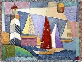 70x54 LIGHTHOUSE Sailboats Boat Tapestry Throw Blanket  - $60.00