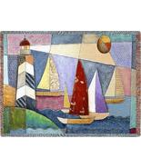 70x54 LIGHTHOUSE Sailboats Boat Tapestry Throw Blanket  - $49.95
