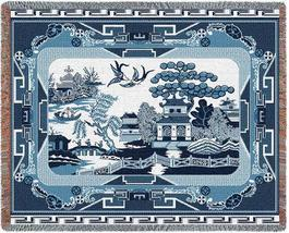 70x54 WILLOW BLUE China Asian Tapestry Throw Blanket  - $60.00