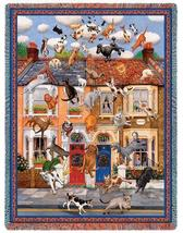 70x54 Raining Cats and Dogs Tapestry Afghan Throw Blanket - $60.00