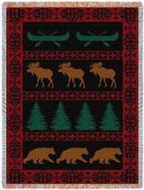 70x53  LODGE Bear Elk Tapestry Throw Blanket Afghan - $60.00