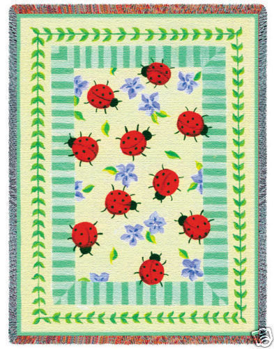 70x54 LADYBUG GARDEN Floral Insect Afghan Throw Blanket