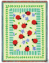 70x54 Ladybug Garden Floral Insect Afghan Throw Blanket - $60.00