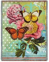 70x54 BUTTERFLY Floral TAPESTRY Afghan Throw Blanket  - $60.00
