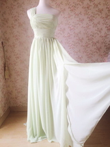 Sage Green One Shoulder Maxi Formal Dress A-line Chiffon Sage Green Prom Dress image 4