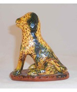 1988 Lester Breininger Glazed Redware Figurine Yellow Green Dog Standing - $277.00