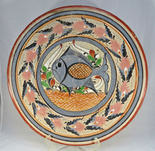Large heavy terracotta round tray countryside deco signed - $60.00