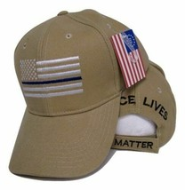 Khaki USA Police Hat Thin Blue Line Cap Low Profile Support Law Enforcement - $21.77
