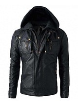 Men's Motorcycle Brando Style Biker Real Leather Hoodie Jacket - Detach Hood MJ9 - $69.29+
