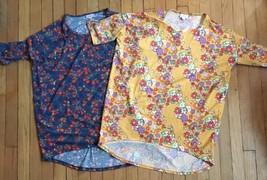 2 LuLaRoe IRMA Tunic Small FLORAL orange-red blue yellow flowers 1 DISNE... - $18.70