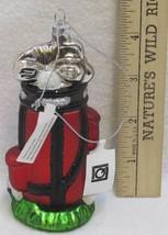 Golf Bag Ornament Hand Blown Glass Christmas Glitter Sports Living Quart... - $9.36
