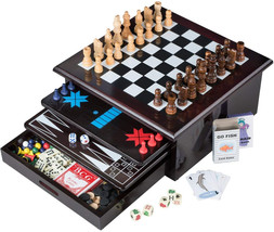 Board Game Set - Deluxe 15 in 1 Tabletop Wood-accented Game Center with ... - $60.16