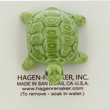 Hagen-Renaker Miniature Ceramic Turtle Figurine Coin Turtle Three Stripe Green image 5
