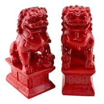 Chinese Contemporary Fu Temple Dogs Statue in Red - $34.95